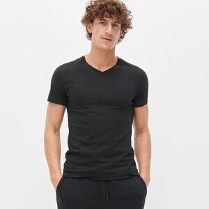 Reserved - Tričko s výstřihem do V - Černý