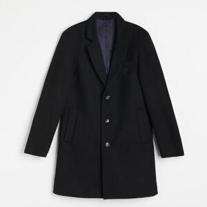 Reserved - Elegantní kabát s vlnou - Černý