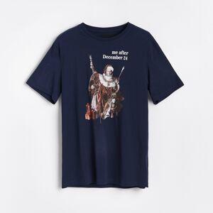 Reserved - Tričko s vánočním potiskem - Tmavomodrá