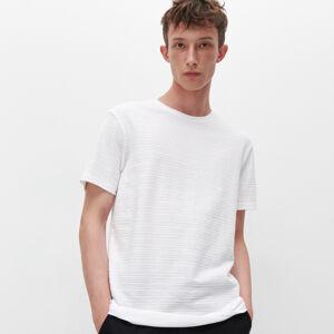 Reserved - Tričko ze strukturovaného žerzeje - Bílá