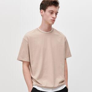 Reserved - Tričko s kontrastní vsadkou - Béžová
