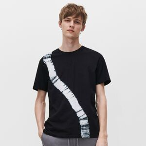 Reserved - Tričko s asymetrickým potiskem - Černý