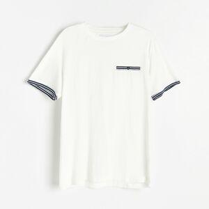 Reserved - Bavlněné tričko s kapsičkou - Krémová