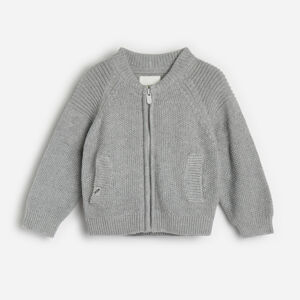 Reserved - Bavlněný svetr na zip - Světle šedá