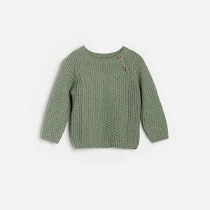 Reserved - Bavlněný svetr pletený vcopánkovém vzoru - Zelená