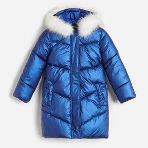 Reserved - Prošívaný kabát s kapucí - Tmavomodrá