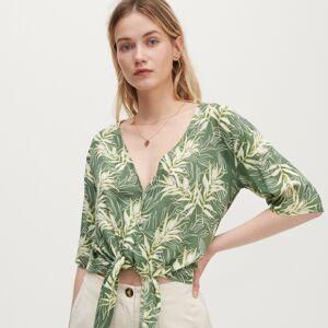Reserved - Vzorovaná košile s vazačkou - Zelená
