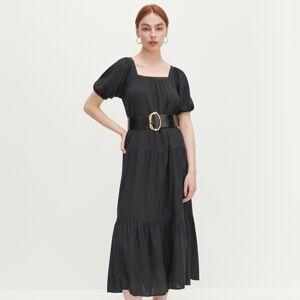 Reserved - Šaty s nabíranými rukávy - Černý