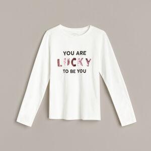 Reserved - Bavlněné tričko sdlouhými rukávy aaplikací - Krémová