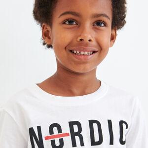 Reserved - Bavlněné tričko s nápisem - Bílá