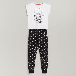 Reserved - Bavlněná pyžamová souprava skalhotami - Bílá