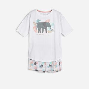 Reserved - Bavlněná pyžamová souprava smotivem slona - Bílá