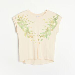 Reserved - Tričko ze směsi modalu - Béžová