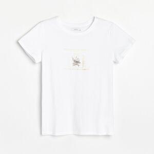 Reserved - Bavlněná košilka s potiskem - Bílá