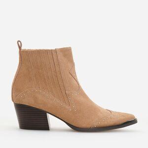 Reserved - Kožené kotníkové boty - Béžová