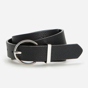 Reserved - Černý texturovaný pásek skulatou sponou - Černý