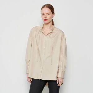 Reserved - Košile sdekorativním stojáčkem - Béžová