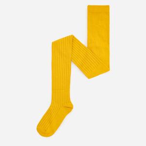 Reserved - Žebrované punčocháče svysokým podílem organické bavlny - Žlutá