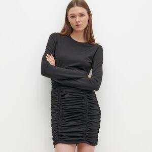 Reserved - Šaty sozdobnou řasenou sukní - Černý