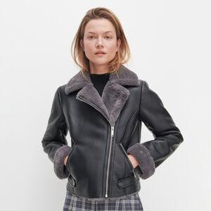 Reserved - Motorkářská bunda sumělou kožešinou - Černý