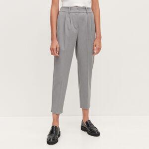 Reserved - Plisované cigaretové kalhoty - Světle šedá