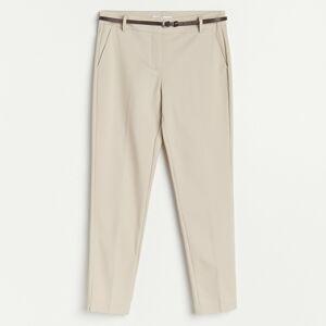 Reserved - Cigaretové kalhoty spáskem - Béžová
