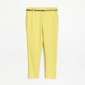 Reserved - Cigaretové kalhoty spáskem - Zelená