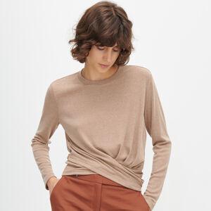 Reserved - Úpletové tričko se stahovacím lemem - Béžová