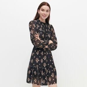 Reserved - Vzorované šaty se stojáčkem - Černý