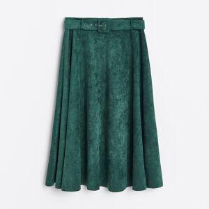 Reserved - Sukně z imitace semiše - Khaki