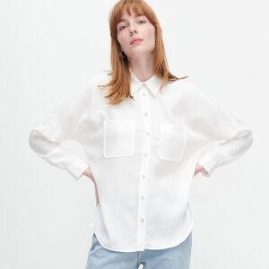 Reserved - Hladká košile zlyocellu - Krémová