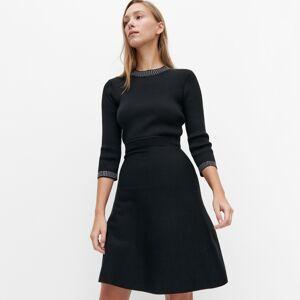 Reserved - Úpletové proužkované šaty - Černý