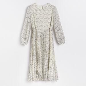 Reserved - Vzorované šaty splisovanou sukní - Vícebarevná