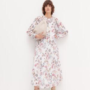 Reserved - Dlouhé květované šaty - Krémová