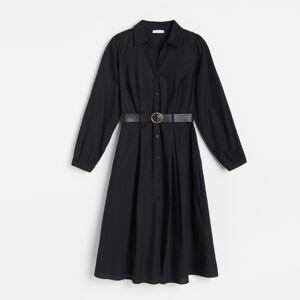 Reserved - Popelínové košilové šaty spáskem - Černý