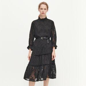 Reserved - Midi šaty svázáním vpase - Černý