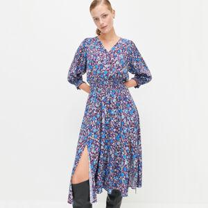 Reserved - Viskózové šaty skvětinovým potiskem - Vícebarevná