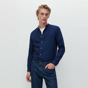 Reserved - Košile zorganické bavlny se stojáčkem - Tmavomodrá