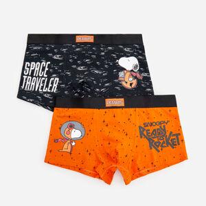 Reserved - Sada 2kusů boxerek svysokým podílem bavlny Snoopy - Oranžová