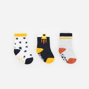Reserved - Sada 3párů protiskluzových ponožek svysokým podílem bavlny - Bílá