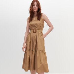 Reserved - Bavlněné šaty spáskem - Béžová