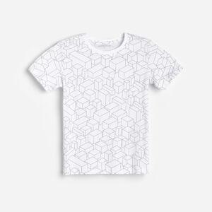 Reserved - Vzorované bavlněné tričko - Bílá