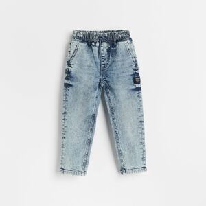 Reserved - Džínové kalhoty joggers se sepraným efektem - Modrá