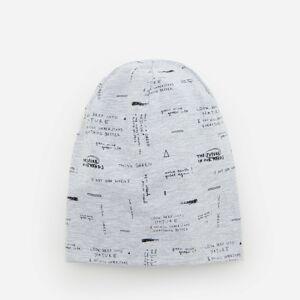 Reserved - Čepice svysokým podílem bavlny anápisy - Světle šedá