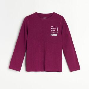 Reserved - Melanžové tričko sdlouhými rukávy anápisem - Fialová