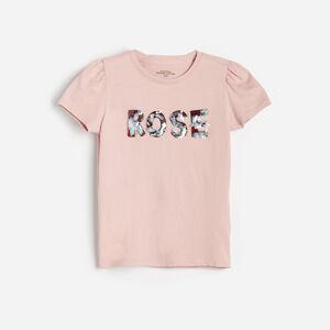 Reserved - Bavlněné tričko s aplikací - Růžová