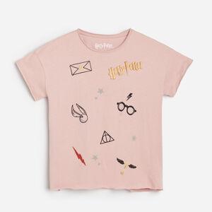 Reserved - Bavlněné tričko Harry Potter - Růžová