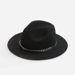 Reserved - Vlněný klobouk trilby sozdobným řetízkem -