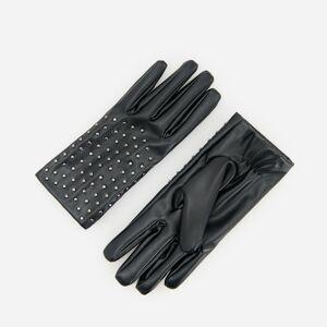Reserved - Koženkové rukavice scvočky - Černý