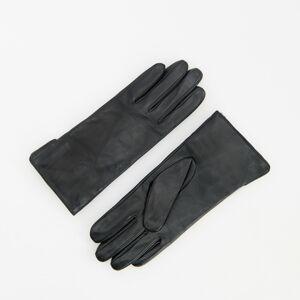 Reserved - Kožené rukavice sdetailem zumělé kožešiny - Černý